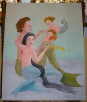 MERMAID MERMAN CHILDREN CHILD GOLD FISH SHABBY PRIMITIVE CHIC OCEAN OIL PAINTING