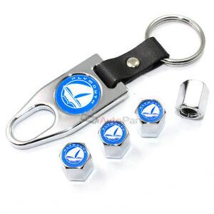 Plymouth Blue Logo Chrome Tire/Wheel Stem Valve Caps + Wrench Key Chain Gift Set