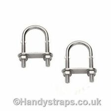 2 x 12mm x 150mm U BOLT & PLATE Stainless Steel Marine Grade for 53mm pipe