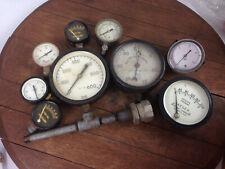 Lot Of 9 Vintage Antique Pressure Gauges Various Sizes Steampunk Wh 16