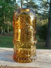 """Vintage Rare Moby Dick Amber Pressed Glass 6"""" Fairy Lamp Schooner Ship Whale Nr"""