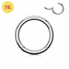 9ct Solid White Gold Classic Hinged Segment Captive Nose Tragus Ring 18G 8mm