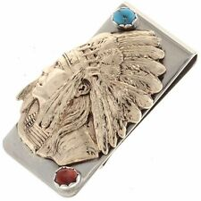 Gold Indian Chief Money Clip Turquoise Coral