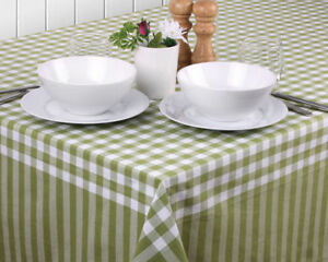 Gingham Green Tablecloths by Ladelle | Soft Luxurious Feel | Machine washable