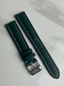 NEVER WORN - Breitling Green Leather Watch Replacement Strap Band + Buckle 16mm