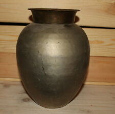 Antique hand made metal potbelly vase
