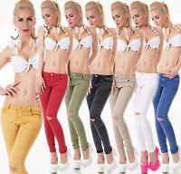 Damen Jeans Hose Skinny Slim Fit Röhre Risse Cut Stretch Denim Basic XS-XL
