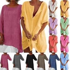 Women Summer Loose T-Shirt Mini Dress Holiday Ladies Casual Long Tops Plus Size