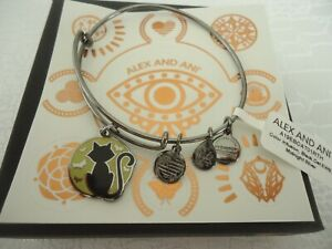 Alex and Ani BLACK CAT Color Infusion Midnight Silver Bangle New W/Tag Card Box