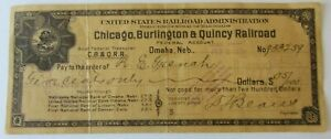 1920 Chicago Burlington & Quincy Railroad CB & Q Bank Check Omaha Nebraska $.05