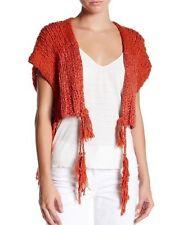 FREE PEOPLE XS Sweater TASSELS AWAY Shrug Open Vest Boho Festival Chunky NWT