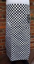 Debenhams Butchers Black White Check Half Apron Full Length with pockets Cotton