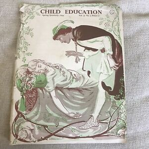 1954 Child Education Spring Quarterly Magazine Covers Torn Pub Evans Brothers