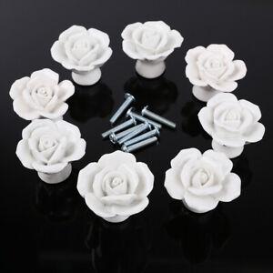 8pcs Ceramic Vintage Flower Rose Door Knobs Drawer Handle Furniture Decoration