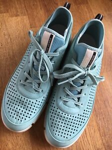 Ecco ladies Blue leather Trainers / Casual shoes size 8 / 42