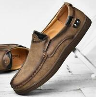 Mens Breathable Casual Slip on Shoes Leather Flat British Loafers Driving  Boats
