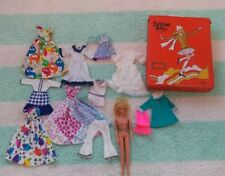 Vintage Barbie 1966 Lot Doll With Mixed Clothing Dress Skirt Case Bell Bottoms
