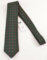 Stenstroms NWT Neck Tie In Green W/ Purple & Yellow Circles Wool / Silk