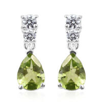 Women's 925 Sterling Silver Pear Peridot Cubic Zirconia CZ Dangle Drop Earrings