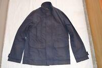 APC Navy Blue Zip Hidden Button Up Trench Coat Mac Jacket Mens Medium M