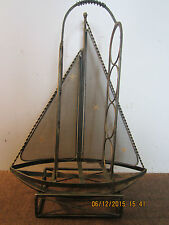 NAUTICAL, DECORATIVE METAL SAILBOAT WINE RACK