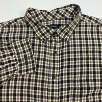 George Button Up Shirt Men's Size 2XL XXL 50-52 Long Sleeve Brown White Plaid