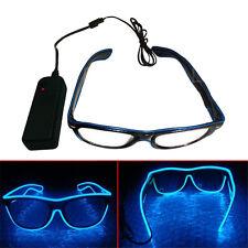 3 El Wire LED Light Shutter Shaped Glasses Brille Leuchtbrille Party Disco Blau