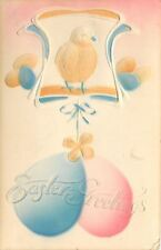 Easter~Airbrushed Pink Blue Eggs Hang From Yellow Shamrock~Chick~Art Nouveau~Emb