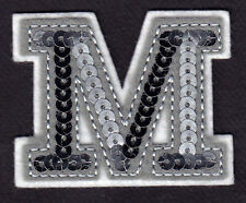 """LETTERS - Silver  Sequin  2"""" Letter """"M"""" - Iron On Embroidered Applique"""
