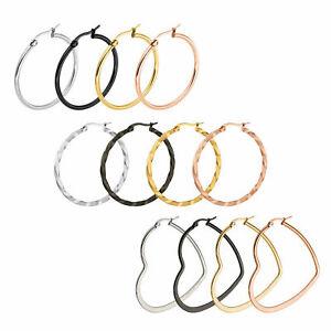 NEW Women Ladies Stainless Steel Big Large Circle Hoop Dangle Earrings 10mm-70mm