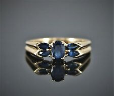$925 10K Solid Yellow Gold Oval Cut Marquise Blue Sapphire Cocktail Ring Band 7