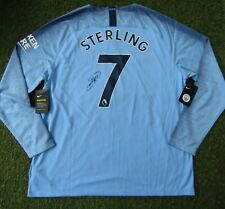 Raheem Sterling #7 Hand Signed Manchester City Home Football Shirt - Autograph