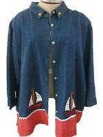 Maggie & Max denim shirt top Size 3X red white blue sailboat 3/4 sleeve cotton