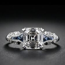 Sapphire Engagement Ring 1.57 Ct White K-M Real Moissanite 925 Sterling Silver 7