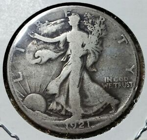 1921S Reverse Walking Liberty Half Dollar Nice VG Graded Fairly