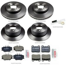 For Mercedes W124 W201 Set of Front+2 Rear Disc Brake Rotors w/ Pads & Sensors