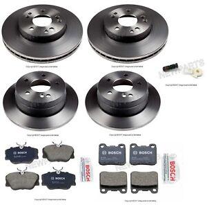 For Mercedes W124 W201 Set of Front+2 Rear Disc Brake Rotors w/ Pads & Sensors