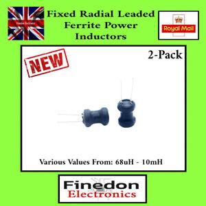 2Pcs Fixed Radial Leaded Ferrite Power Inductors Various Values - UK