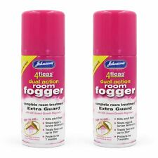 Johnsons 4 Fleas Twin Pack Flea Fogger Household Killer Bomb 2 Cans of Fog Spray