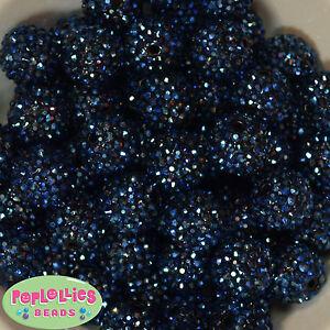 20mm Navy Blue Rhinestone Gumball Beads Chunky Bubblegum 20 pc