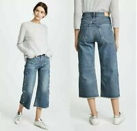Citizens Of Humanity $368 NWT SZ 27 Button Emma High Rise Wide Leg Crop #7026-A1