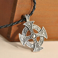 "Silver Celtic Solar Cross Pewter Pendant with 20"" Choker Necklace"
