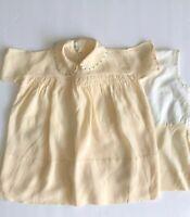 VINTAGE BABY DRESS & SLIP RAYON GABARDINE LIGHT YELLOW 2 PIECE 1930's-40's