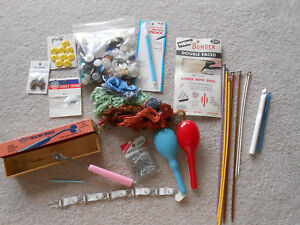 Vtg Lot Sewing Items Buttons, Darners, Tracing Wheel, Knitting Needles, Thread