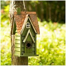 """glitzhome Hanging Distressed Wooden Garden Hand Painted Bird House 11.93"""" H"""