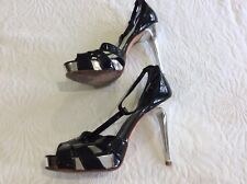 Aldo black patent leather strappy t bar heeled shoes size 38/5
