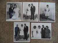 Vintage Lot of 5 African American Black Wedding Photos Bride Groom 8X10 1960's