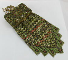 Rare Antique Whiting&Davis Art Deco Enamel Mesh Flapper Jeweled Compact Purse