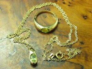 8kt 333 Yellow Gold Jewelry Set With 1,80ct Peridot / Ring, Chain & Pendant/