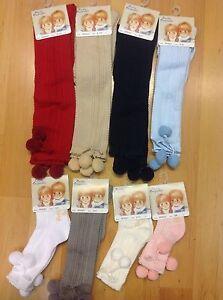 Knee High Pom Pom Socks Scallop Edge by pretty originals Age Newborn to Age 10